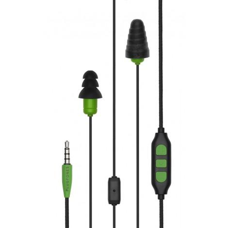Plugfones Protector Plus Series Earplug Headphones Blk/Grn PIPP-BE