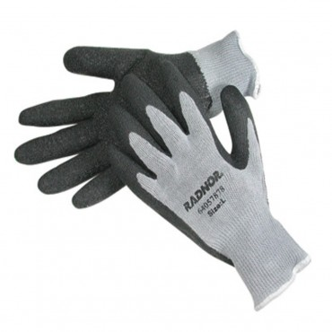 Radnor String Knit Gloves Medium Latex Palm Grey