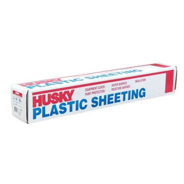 Poly-America Husky Plastic Sheeting 10' x 100' 4 Mil Clear CF0410C